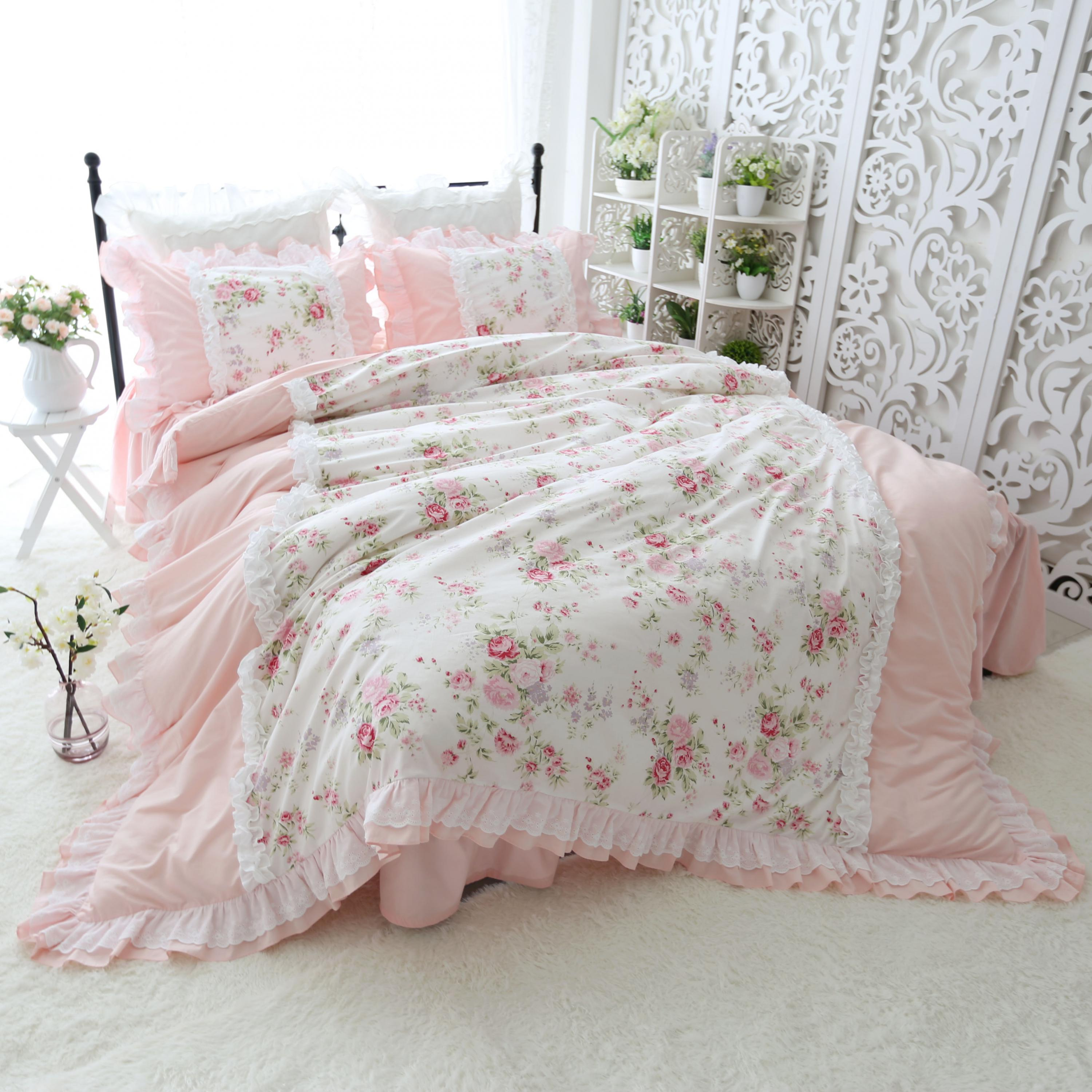 100%Cotton Blossom Pink Flower Ruffled Patchwork Duvet Cover Bedskirt Princess Style Queen King Twin Size Girls Bedding Sets