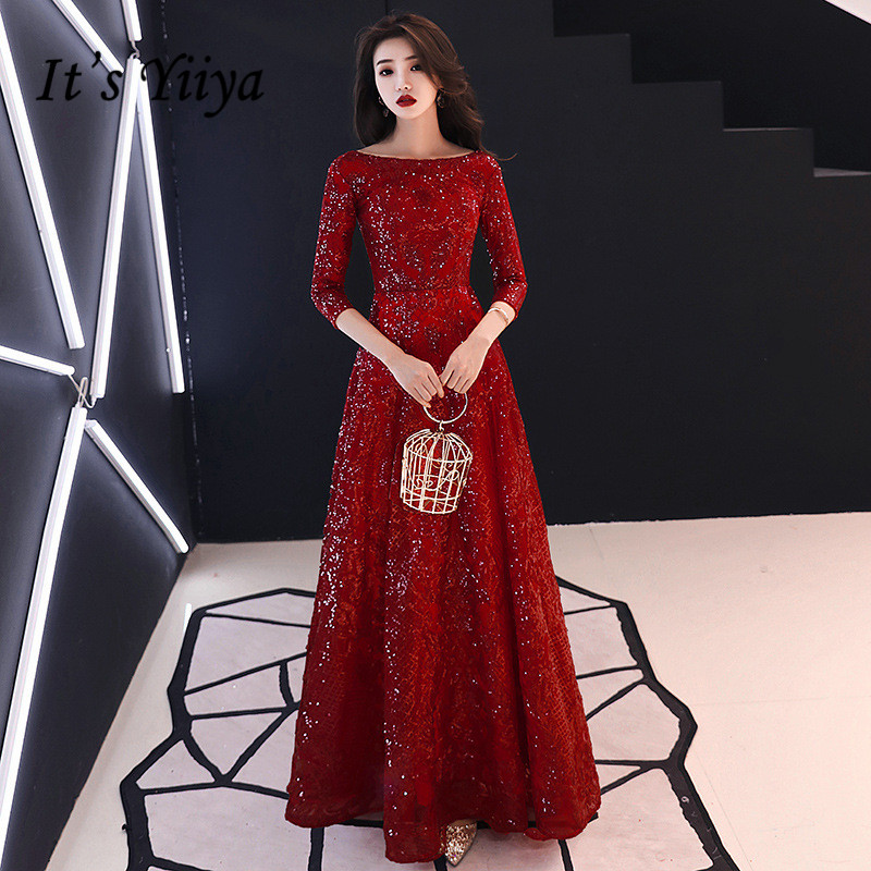 It's YiiYa   Evening     Dress   Full Sequins Shining O-neck Half Sleeve Formal   Dresses   Women Vintage Wine Red Long Party Gown E091