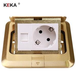 Image 2 - KEKA floor socket EU Plug power socket all bronze gold panel pop socket with rj45 computer Outlet Waterproof embedded ground RU