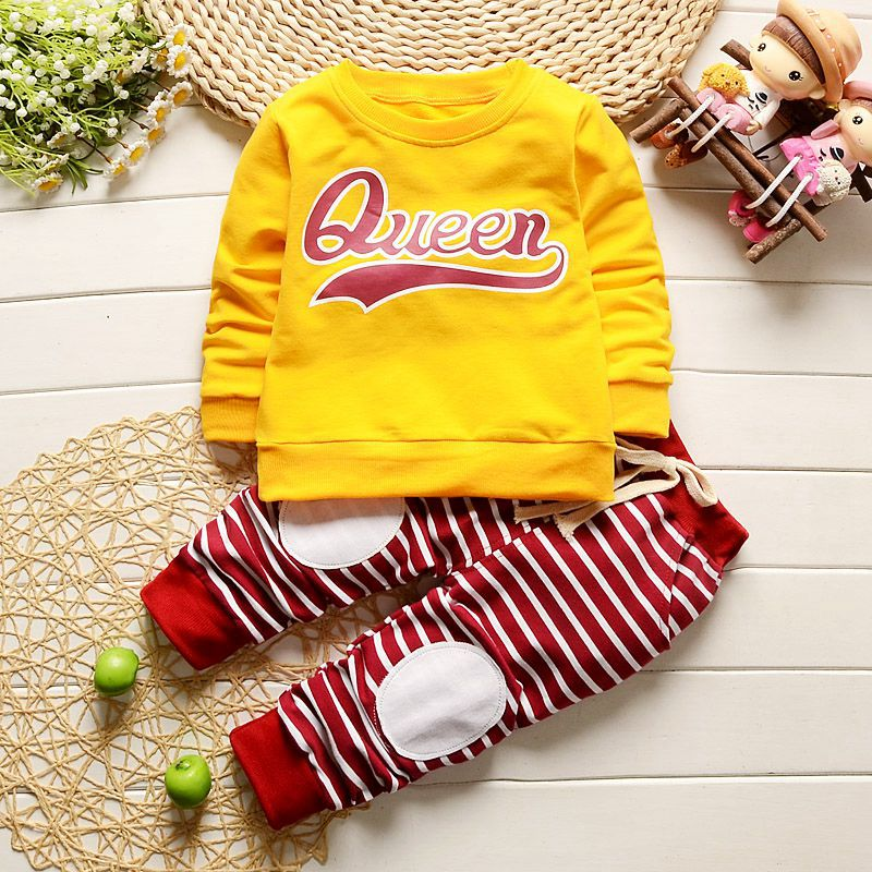 Baby's Clothing Set Sweatshirts + Pants 9 to 24M Colorful Queen Soft Cotton Spring Autumn Girls Sportswear Baby's Clothing