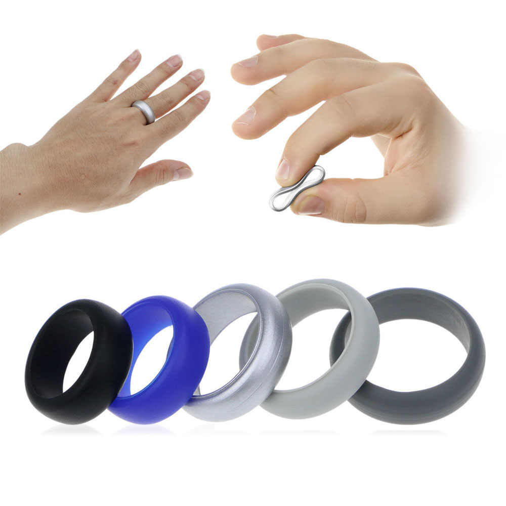 5pcs/set 8mm Food Grade FDA Silicone Ring Hypoallergenic Crossfit Flexible Silicone Finger Rings For Men Women Wedding Jewelry