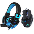 New 7 Buttons 5500 DPI Professional Gaming Mouse+Heavy Bass Games LED Light Gaming Headphone with Earphone Microphones Headset