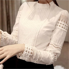 Sweet Style Nice Spring Autumn Fashion Women Blouses Long-sleeve Cutout Lace Shirt Stand Collar White Women Lacing Tops A821