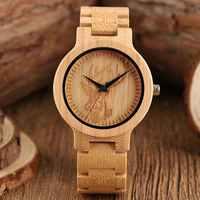 Natural Bamboo Mens Watch Handicraft Engraving Deer Elk Dial Sports Analog Full Wooden Bracelet Quartz Wristwatches for Men Male