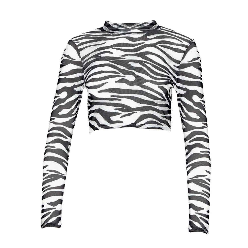 여성 여름 얼룩말 줄무늬 쉬어 메쉬 긴 소매 셔츠 투명 터틀넥 블라우스 탑스 자르기 탑 시스루 옷