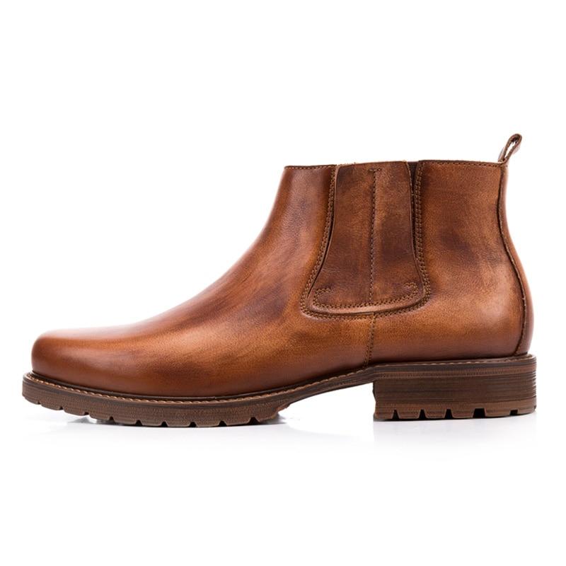 2018 الخريف الرجال جلد طبيعي أحذية العمل أحذية خمر أكسفورد أحذية الكاحل عالية الجودة تشيلسي الرجال على  مجموعة 2