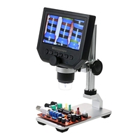 UK Plug Digital USB Microscope 600X 4.3 LCD Display Electronic Video Magnifier HD 3.6MP CCD Adjustable 8 LEDs 1080P/720P/VGA Kit