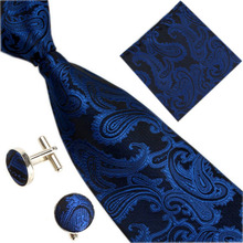 Men's Silk Jacquard Tie Hanky Cufflinks Set