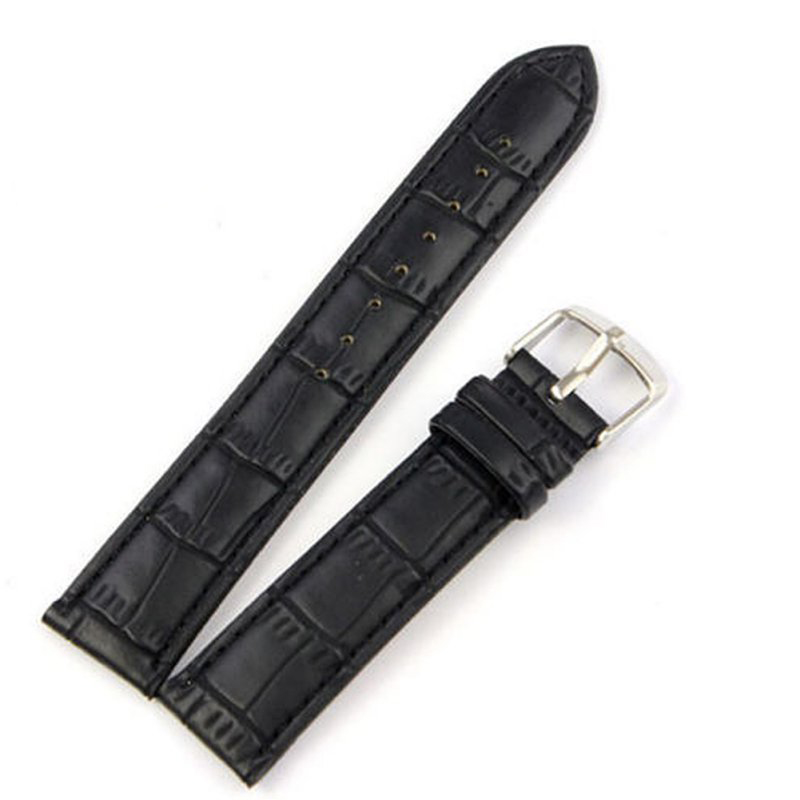 Men Women Soft Faux Genuine Leather Strap Stainless steel Buckle Wrist Watch Band Size 18 20 22 24mm correas de reloj 18 20 22mm genuine leather outdoor replacement black watch strap men band soft stainless steel butterfly buckle 2 spring bars