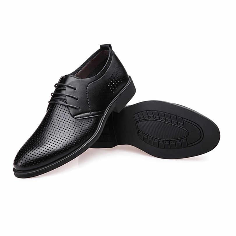 LIN KING/дышащие мужские повседневные модельные туфли в деловом стиле с острым носком, деловые туфли из натуральной кожи, туфли-оксфорды, большой размер 47