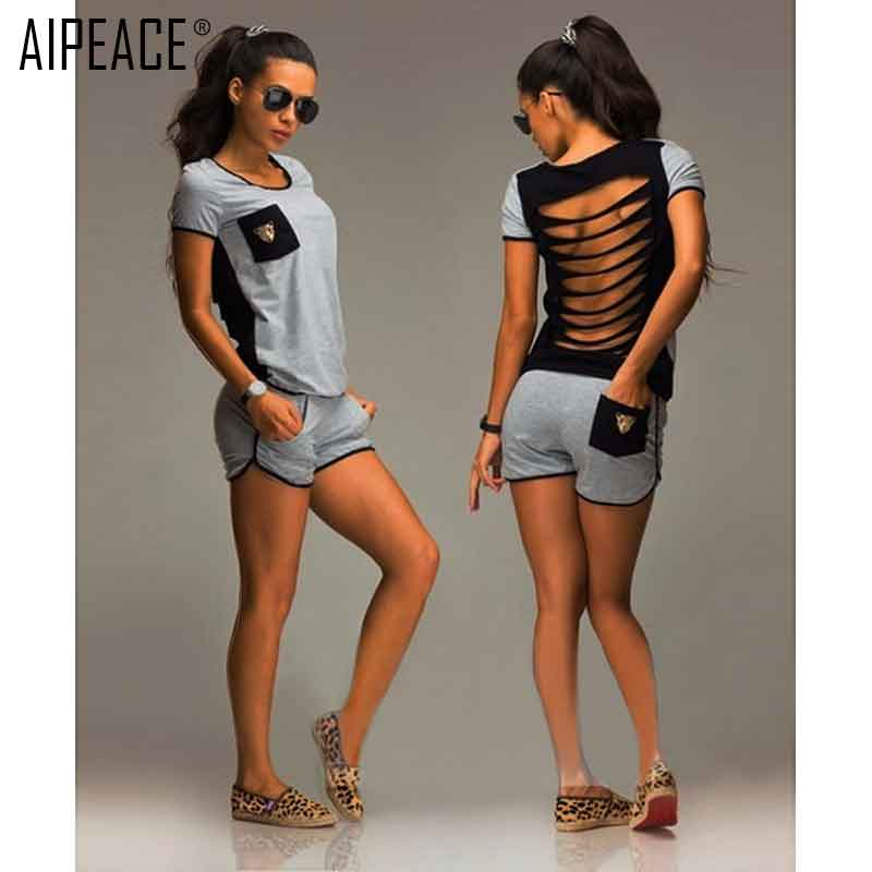 AIPEACE Women Two-piece Fashion Casual Suits Women Cotton Hole Hollow Out Backless Short Sleeve T-shirt And Short Pant  Suit