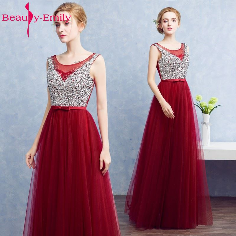 Beauty-Emily Real photo Wedding Party Long   Bridesmaid     Dresses   2017 Beading vestidos de festa A-line Formal Occasion   Dresses