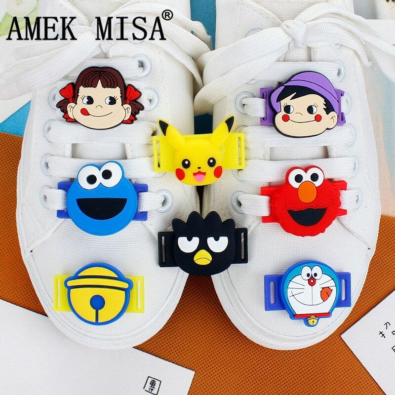 10Pcs A Set Shoe Decorations PVC Cartoon Sesame Street Casual/Sports Shoes Accessories Novelty Bell Cat Shoelace Charms Doraemon