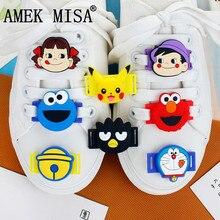10Pcs a Set Shoe Decorations PVC Cartoon Sesame Street Casua
