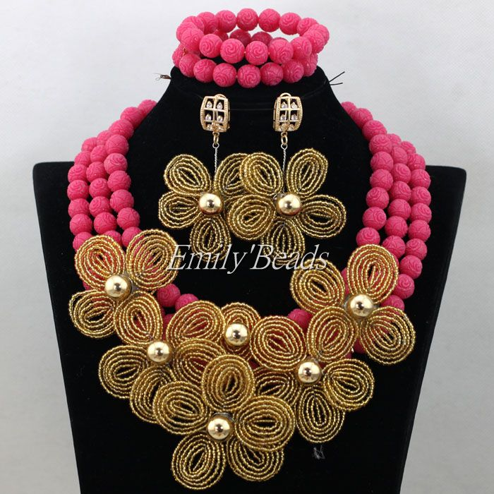 African Wedding Artificial Coral Beads Necklace Jewelry Set ...