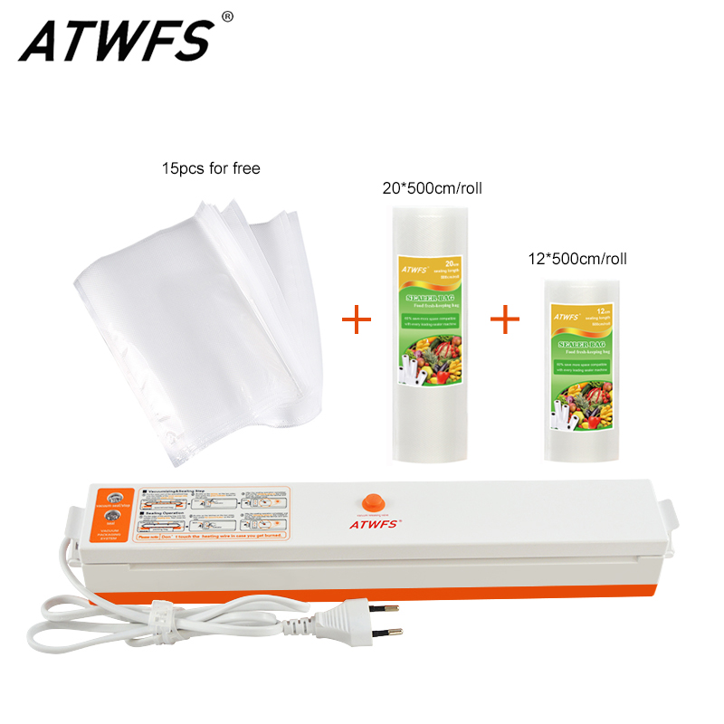 ATWFS Food Vacuum Sealer Packing Sealing Machine Including 15Pcs Bags And Vacuum Bag Packaging Rolls 20cmX500cm+12cmX500cm