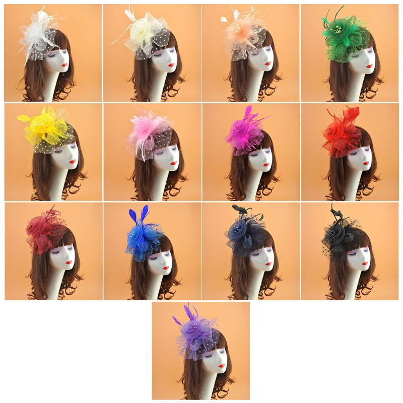 Womens Bridal Wedding Mesh Veil Hat Solid Color Big Flower Faux Pearl Beaded Hair Clip Feathers Wave Point Props 13 Colors