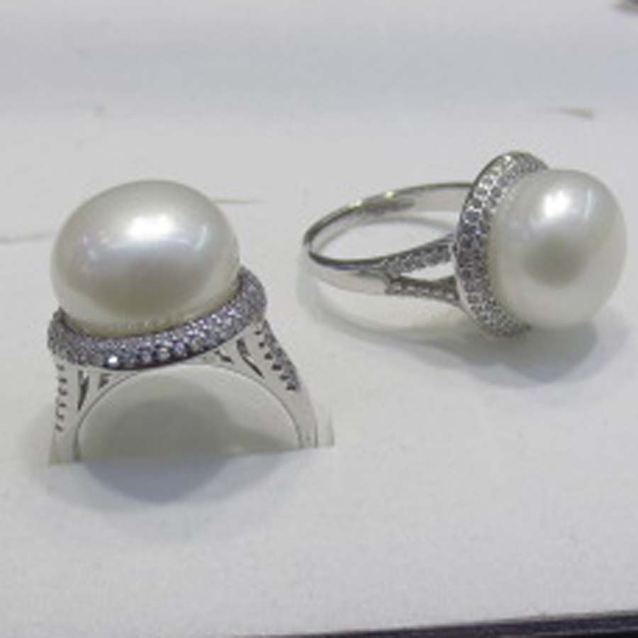 13.5-14mm bouton blanc perle s925 bague en argent livraison gratuite