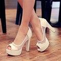 Новинка ну вечеринку лето туфли на высоком каблуке с открытым носком черные резиновая подошва платформы дышащий туфли на высоком каблуке сандалии для женщины большой размер обуви