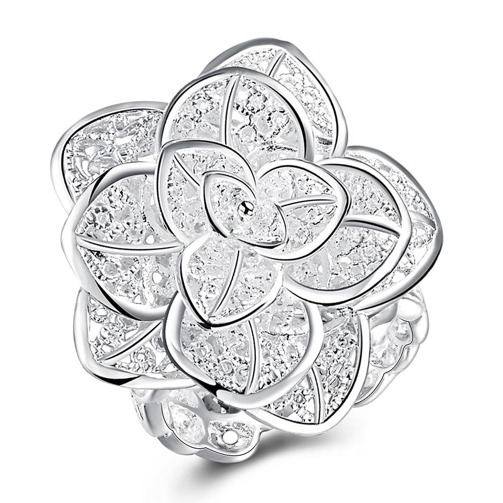 Farbe Silber Männlichen Ring Großhandel versilbert Modeschmuck Drei Schicht Blume Ringe Für Frauen Anel Masculino Ringe Öffnen Größe