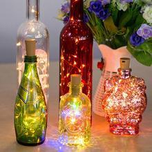 цена на 6PCS 1M LED Cork Light String Wine Bottle Light Christmas Tree Decoration Fairy Lights Copper String Light Warm Light Cork Light