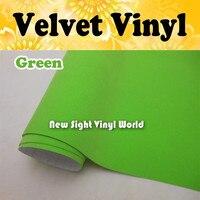 Zielony Aksamit Vinyl Wrap Apple Zielony Aksamit Samochodów Vinyl Film Pęcherzyk Powietrza Darmo Rozmiar: 1.50*15 M/rolki
