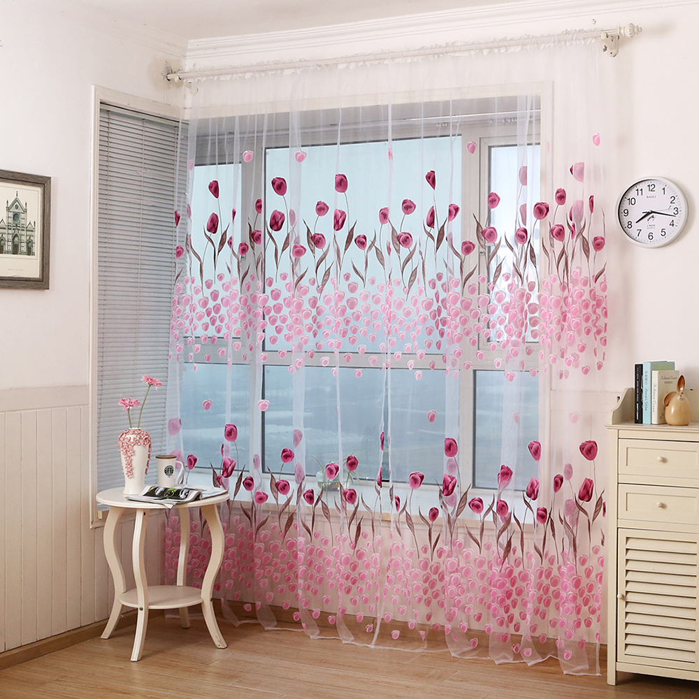 Voile Drape Valance Sheer-Curtain Flower-Printed Window Treatments Tulle Living-Room