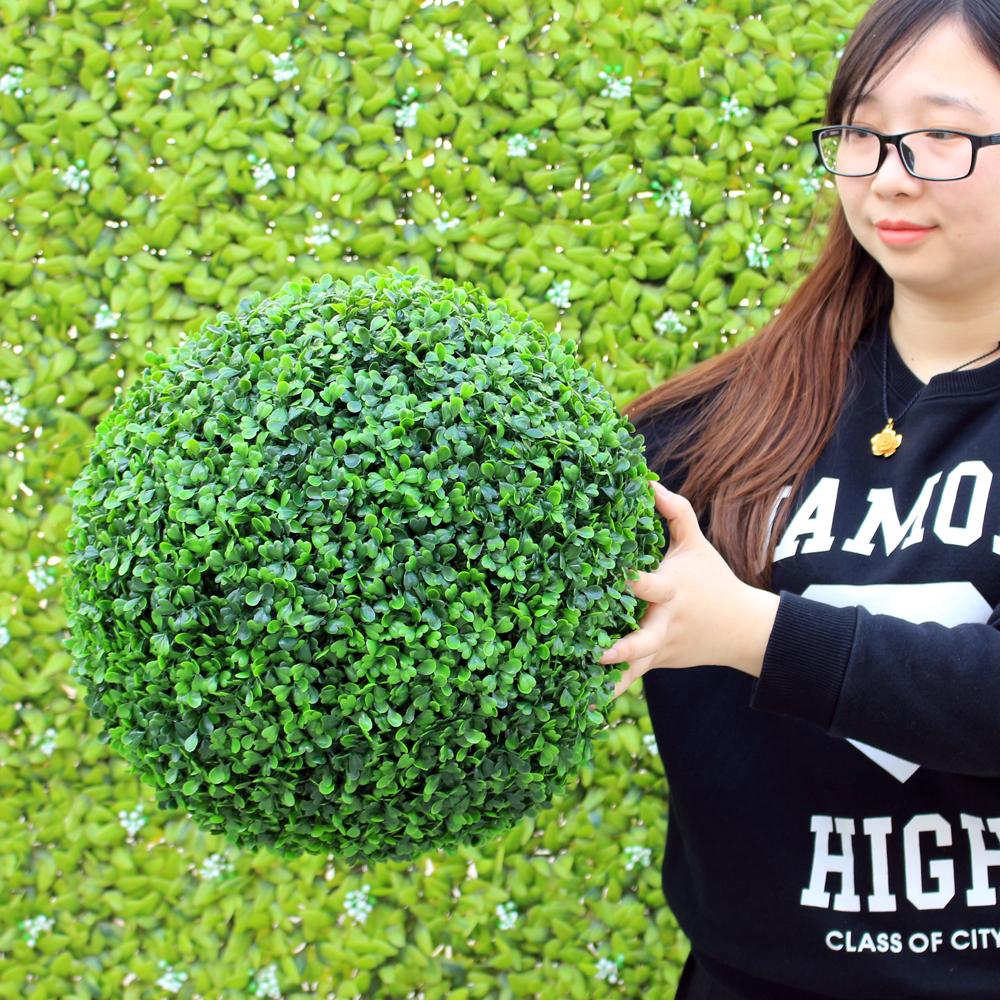ULAND 48CM Decorative Artificial Grass Ball Plastic Leaf Effect Hanging Green Grass Ball Decoration Artificial Topiary Ball 1