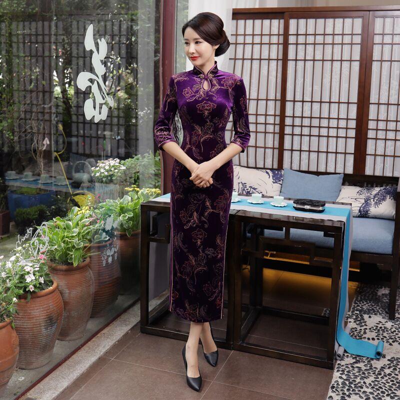 Fashion Chinese Style Long Cheongsam New Arrival Purple Women's Velour Dress Elegant Qipao Vestidos Size S M L XL XXL XXXL T0053 женское платье other 2015 o vestidos s m l xl xxl