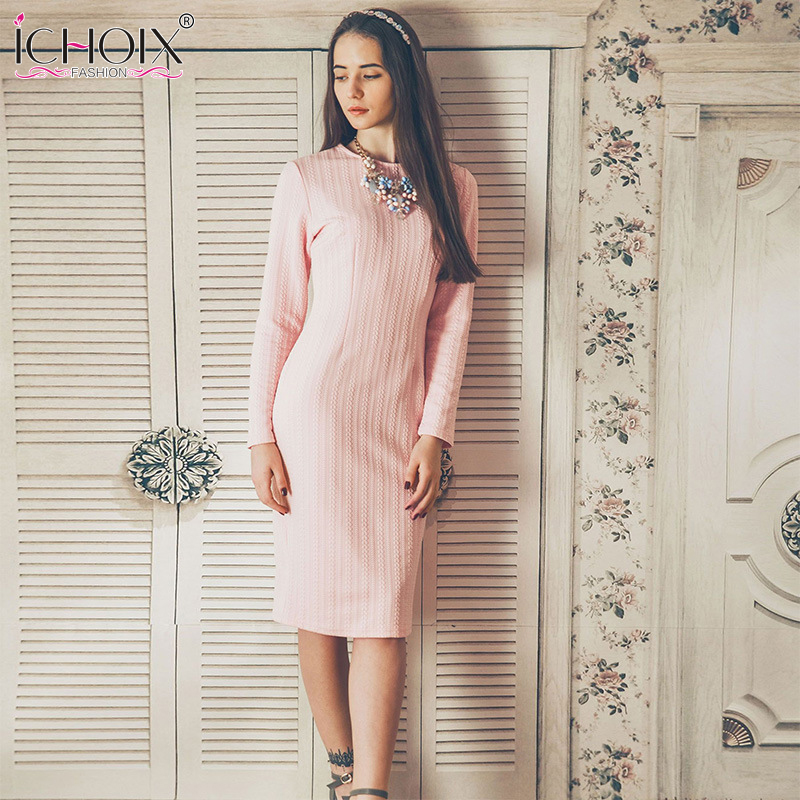 2018 Autumn Pink Elegant Women Office Knitted Dress Jacquard Vintage Dress Winter Long Sleeve Dress Knee Length Bodycon Vestidos