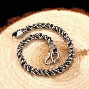 Image 4 - ZABRA Bất Động 925 Sterling Silver Bạc Vòng Đeo Tay Man 5 mét Độ Dày 18 Chiều Dài Punk Rock Vintage Weave Bracelet Mans Đồ Trang Sức