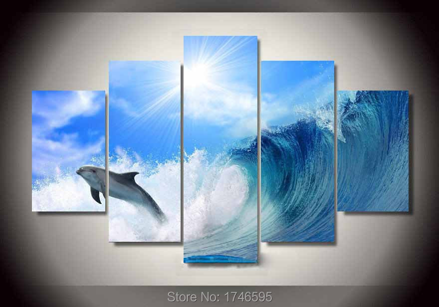 5pcs Kids Room Wall Decor Dolphin Ocean Seascape Wall Art Picture Home Decor  Printed Oil Painting