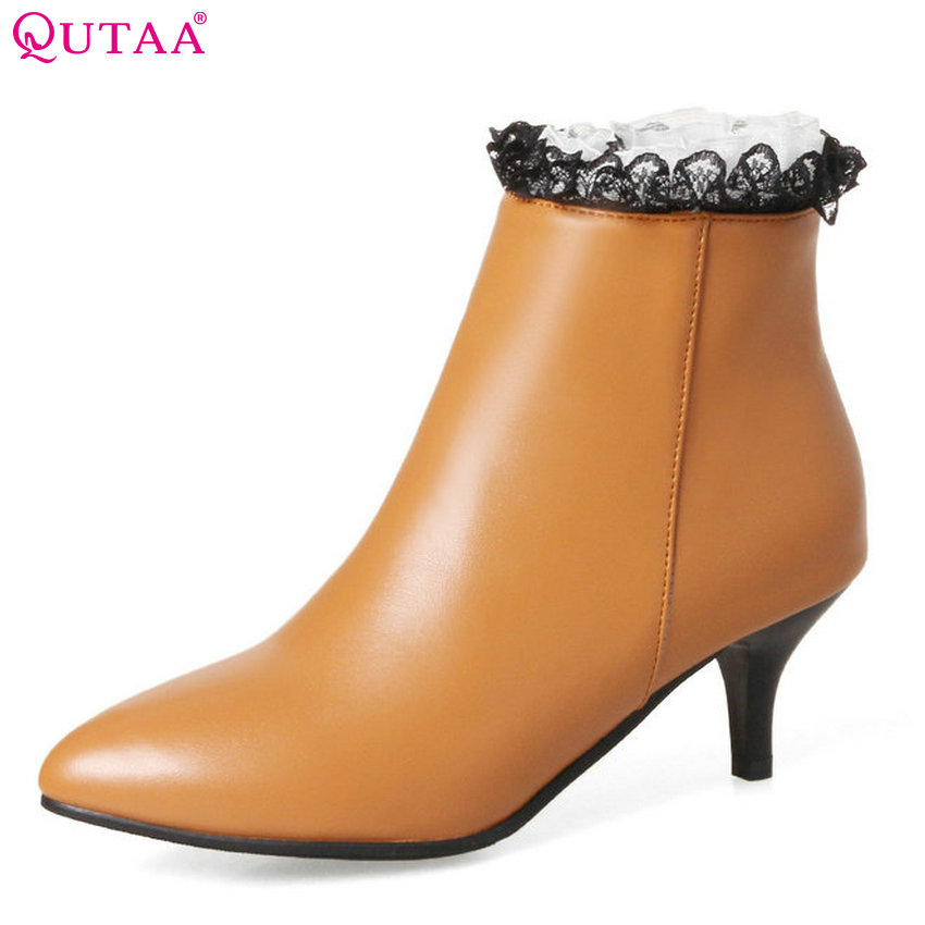 QUTAA 2018 Women Ankle Boots Thin High Heel PU Leather Western Style Pointed Toe Spring and Autumn Ladies Boots Size 34-43 qutaa 2018 women ankle boots fashion zipper square high heel pointed toe pu leather spring and autumn women boots size 34 43