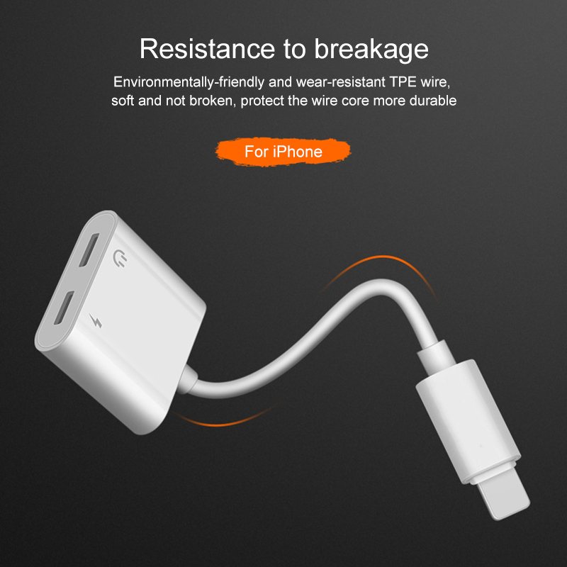 Audio Adapter Charger Cable For iPhone X 8 Dual Headphone Aux cable Lightning Converter For iPhone 10 Charging Splitter for IOS