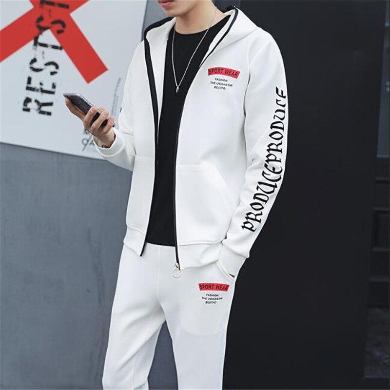 2018 printemps automne mode hommes Sweat costumes à capuche veste + pantalon Sportswear deux pièces ensemble lettre imprimé mâle survêtement