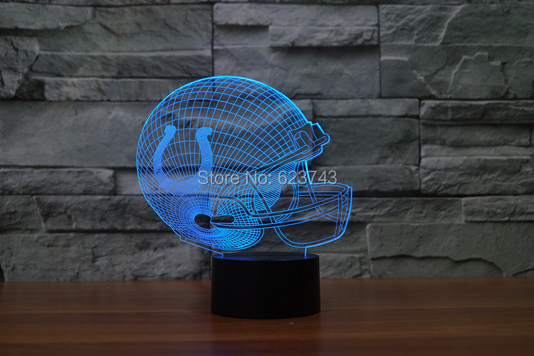 Indianapolis Colts American Football cap helmet 3D NFL LED Color Changing Decor night light by Touch induction control and AAA