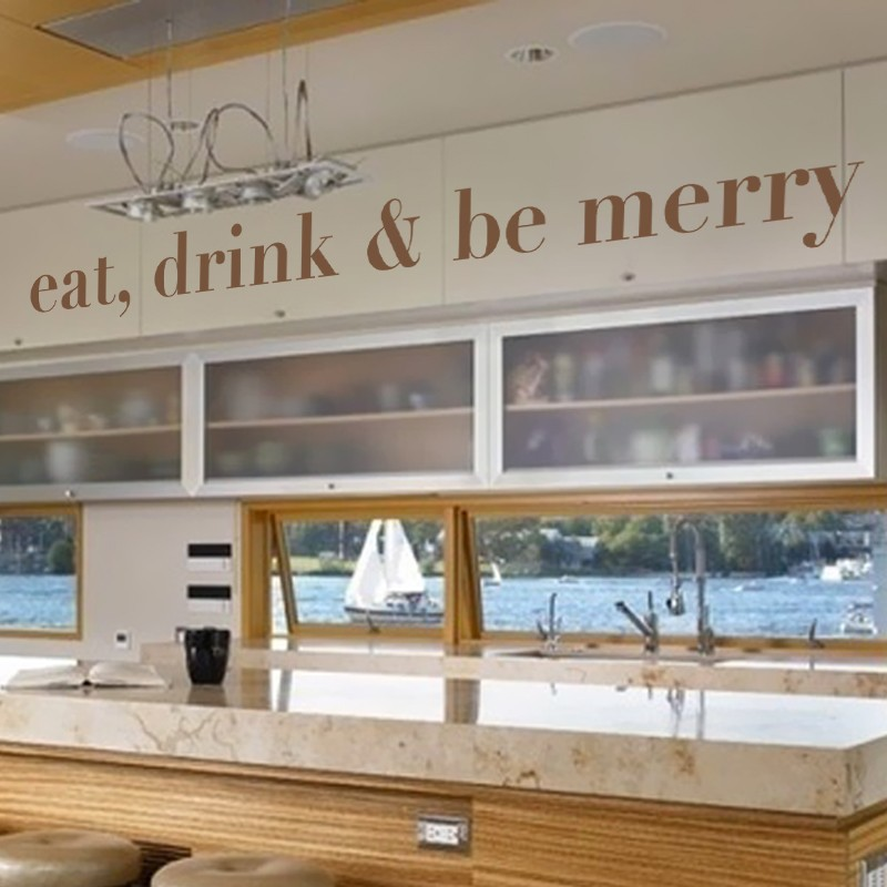Aliexpress Buy Eat Drink And Be Merry Wall Decal Kitchen Decals Food Home Decor 46 X5 From Reliable Suppliers On
