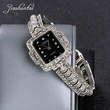 50263505f02d JIASHUNTAI Retro 100% reloj de plata de ley 925 para mujer redondo Vintage  tailandés reloj de plata regalos de joyería