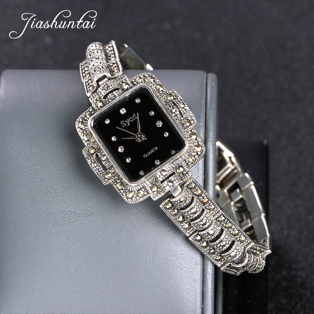 JIASHUNTAI Retro 100% 925 Sterling Silver Watch For Women Round Vintage Thai Silver Watchs Jewelry Gifts