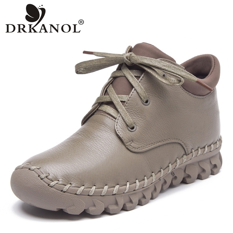 DRKANOL Autumn Winter Women Boots Fashion Handmade Genuine Leather Flat Ankle Boots For Women Snow Boots Warm Casual Shoes Botas nikbea brown ankle boots for women vintage flat boots 2016 winter boots handmade autumn shoes pu botas feminina outono inverno