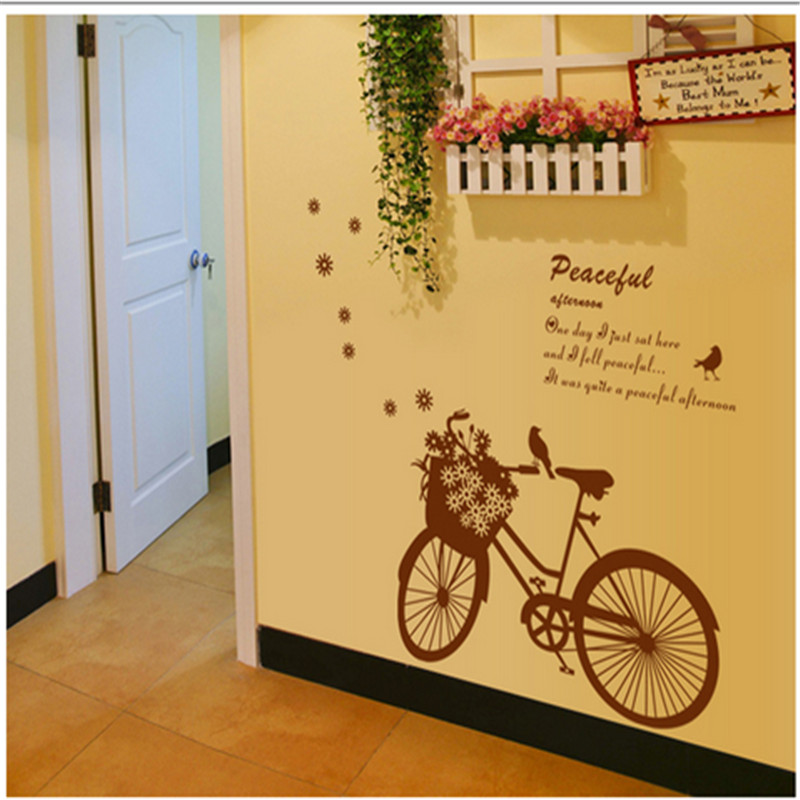 ᐃmodern Leisure Family Art Deco wall stickers Romantic bicycle ...