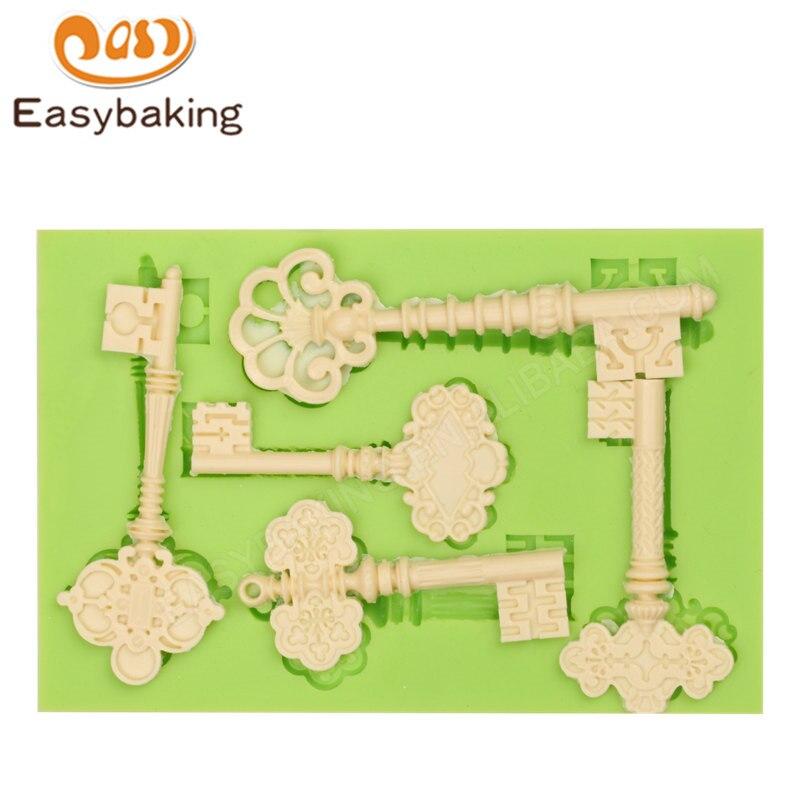 Abeceda formy Cake Dekorační nástroje Barokní Vintage styl Klíč Silikonové formy pro Fondant Candy Čokoláda Clay Fimo pryskyřice
