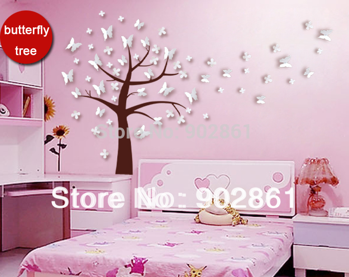 Vinilos mariposas para pared hot unids d pegatinas de for Pegatinas pared arbol infantil