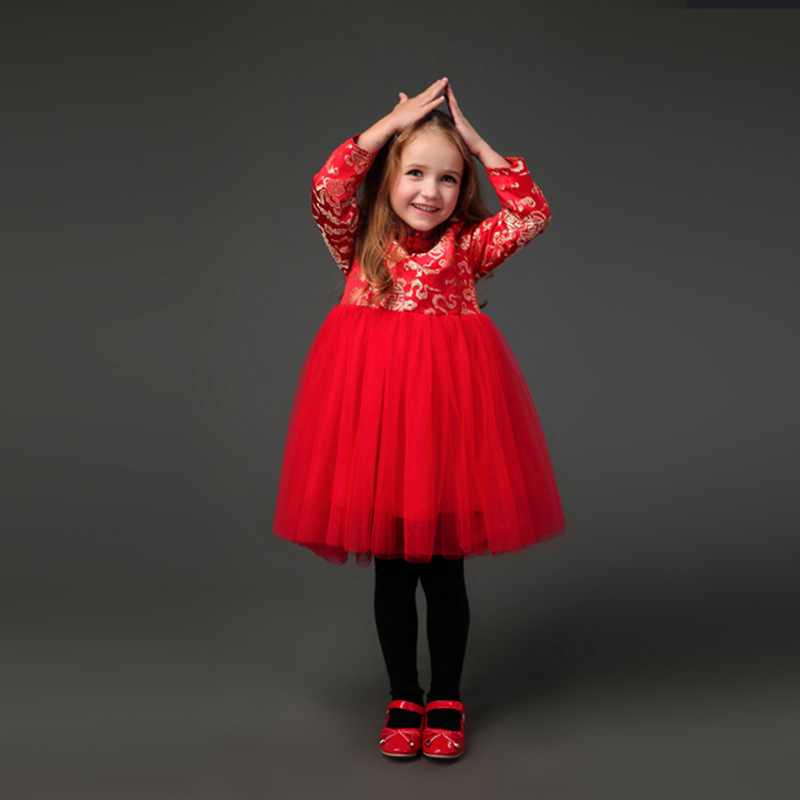 Girls Dresses Winter Kids Dresses For Girls Chinese Cheongsam Baby Elegant Clothes Chinese Style For New Year Clothing 2018 kids girls dresses 2018 new winter solid