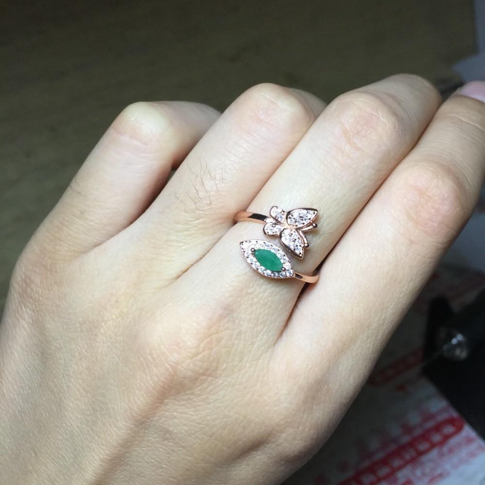 c884a1606868 Sólido genuino de la joyería de la plata esterlina 925 gran Esmeralda  anillo partido anillos para