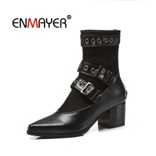 ENMAYER Woman Boots Real Leather Ankle Women Pointed toe Winter Shoes Thin Heels Zipper Buckle womens boots ankle CR1735