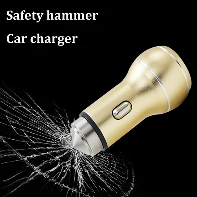 Metal Car Charger Dual Quick Charge 3.0 USB Phone Safty Hammer Available Blue Positioning Smart Phone for iPhone 6s 7 8 XYZ-line