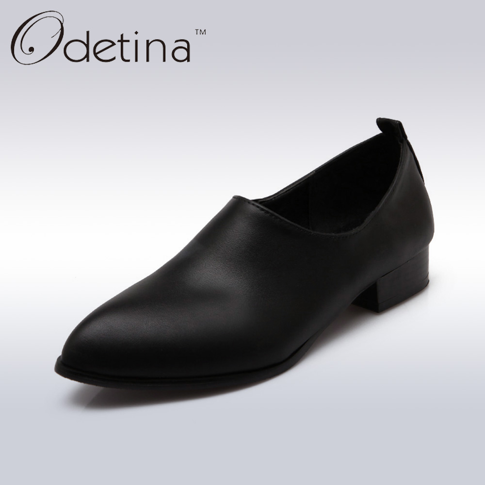 Odetina 2017 New Spring&Autumn Women Low Heel Slip on Shoes Fashion PU Leather Soft Loafers Pointed Toe Women Shoes Casual Pumps xiaying smile new spring autumn women pumps british style fashion casual lace shoes square heel pointed toe canvas rubber shoes