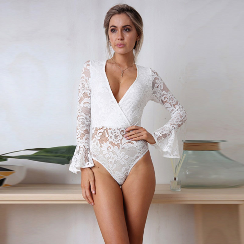 2018 Women Lace Bodysuit Sexy Deep V-Neck Flare Sleeve Playsuit Rompers Summer Ladies Backless Long Sleeve Hollow Out Overalls