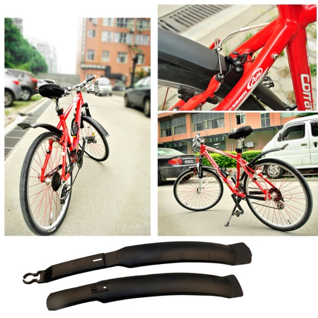 TOMOUNT 2PCS bicycle accessories Cycling Plastic MTB Mudguard Quick Release Bike Fenders Road Front Mountain Bike Rear fender    1